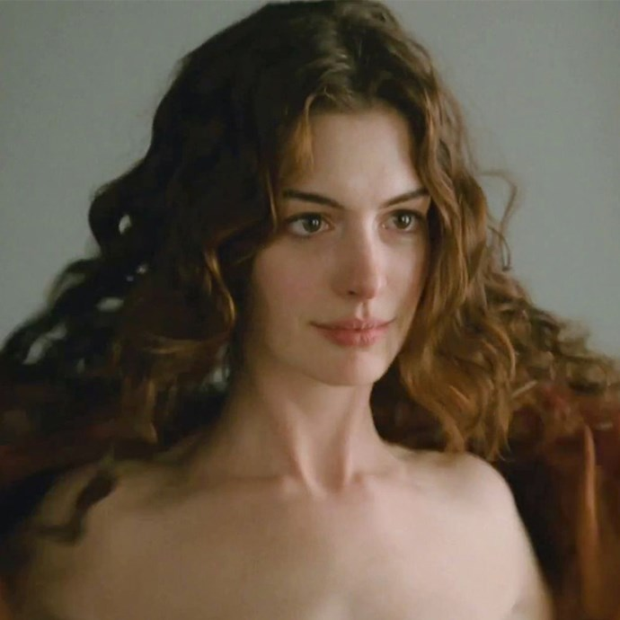 "**Anne Hathaway:** The Oscar winner got super nude for the 2010 rom com with Jake Gyllenhaal, *Love & Other Drugs*. She said of the film's sex scenes: ""We were laughing while we were naked and things jiggle."" She also joked: ""I've had a chip on my shoulder since *The Princess Diaries* when my nude scene was cut. So I've been trying to make up for lost time ever since then."""