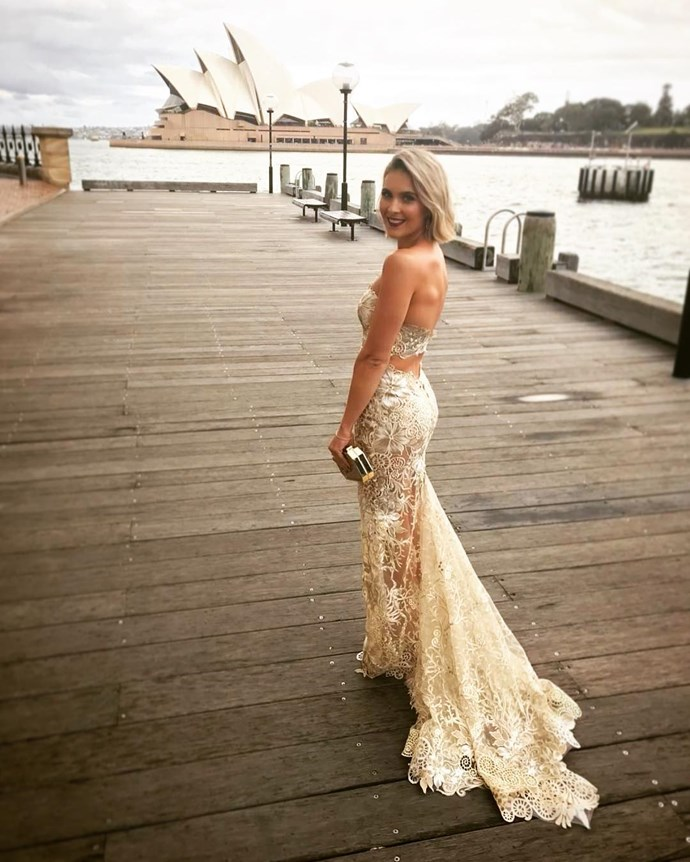 Anastasia James wearing Holly Rose Couture.