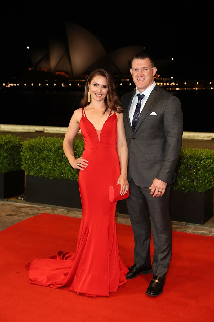 Paul Gallen and his wife Anne Gallen, a vision in red.