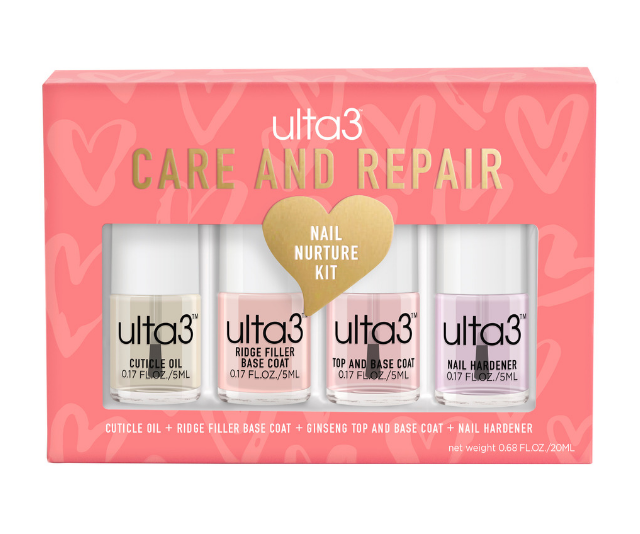 "**Care and Repair Nail Nurture Kit, $8.95 at [Ulta3](https://www.ulta3.com.au/nail/nail-value-sets/care-repair-nail-nurture-value-set-14101024.html|target=""_blank"")** <br><br> Nurture and repair your nails with these four mini-sized nail repair treatments, including Cuticle Oil, Ridge Filler Base Coat, Ginseng Top and Base Coat, and Nail Hardener."