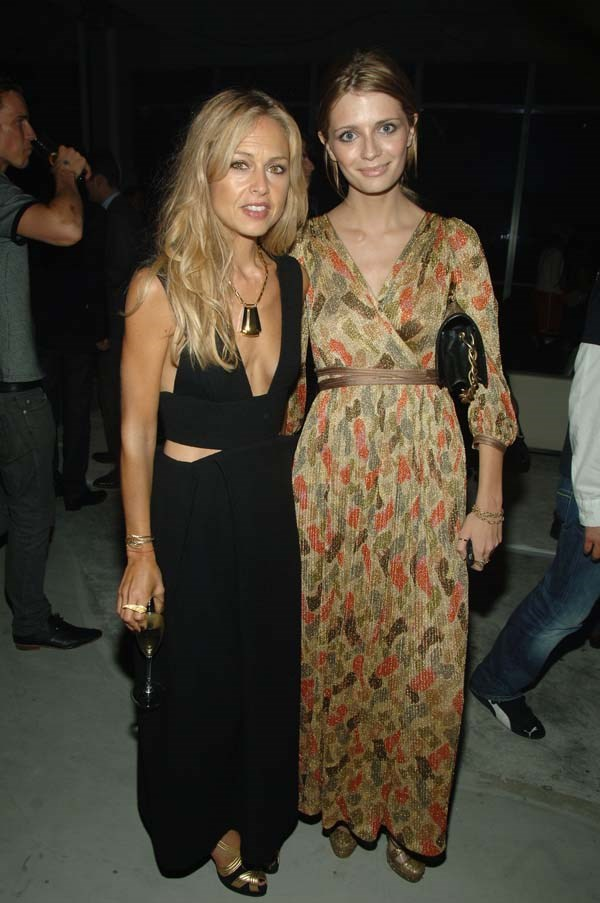 Misch dazzles in a gold maxi dress with her stylist, Rachel Zoe.