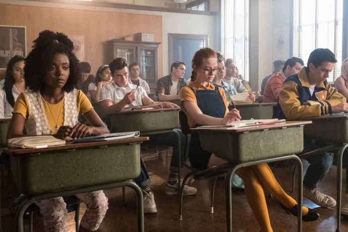 Ashleigh Murray as Josie McCoy's mum, Sierra (left), Madelaine Petsch as Cheryl's mum Penelope Blossom and Cole Sprouse as Jughead's dad, FP Jones.