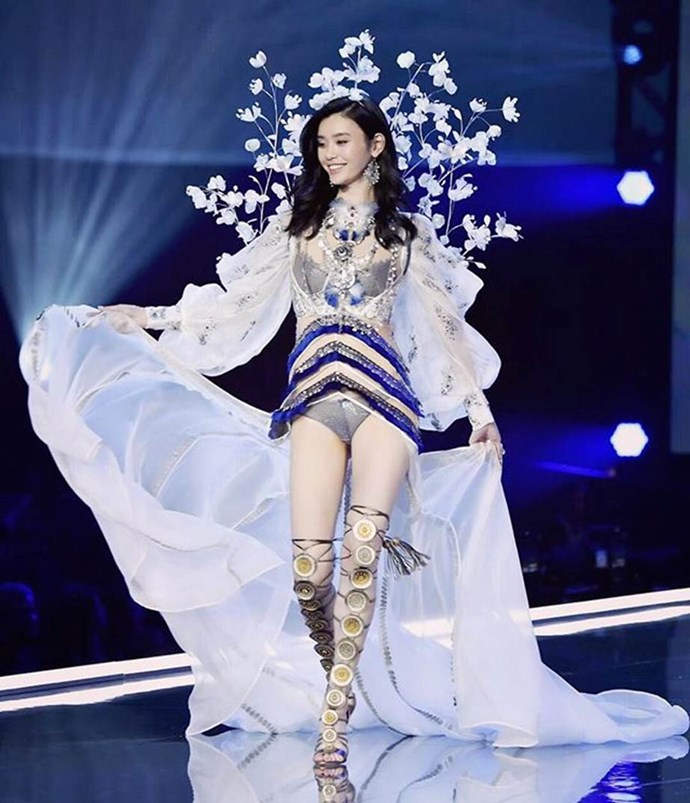 **Ming Xi:** At the 2017 show, Ming Xi broke our hearts by taking a nasty tumble on the slippery runway—and then being filmed bursting into tears backstage. In 2018, we're demanding #JusticeForMingXi, and a Fantasy Bra nomination would be the perfect antidote to a soul-crushing moment. *Image: @mingxi11*