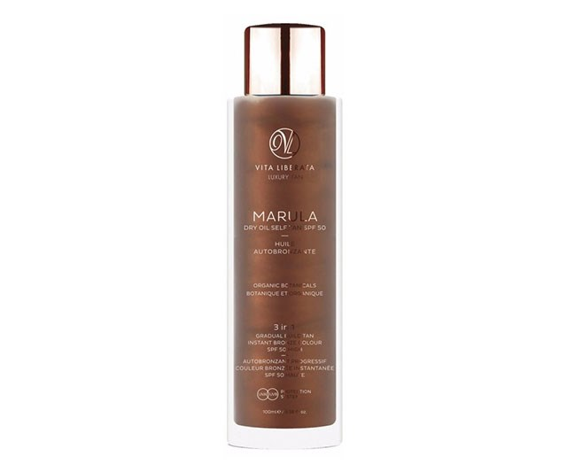 """This self-tanning oil gives skin an instant glow and protects it from the sun. It boasts SPF 50 protection meaning you're guarded against UV rays all while building a natural-looking sunless tan thanks to its organic DHA formula. <br><br> [Vita Liberata Marula Dry Oil Self Tan SPF 50](https://www.asos.com/au/vita-liberata/vita-liberata-marula-dry-oil-self-tan-spf-50-100ml/prd/9827620?clr=dry-oil&SearchQuery=spf&gridcolumn=4&gridrow=2&gridsize=4&pge=1&pgesize=72&totalstyles=8