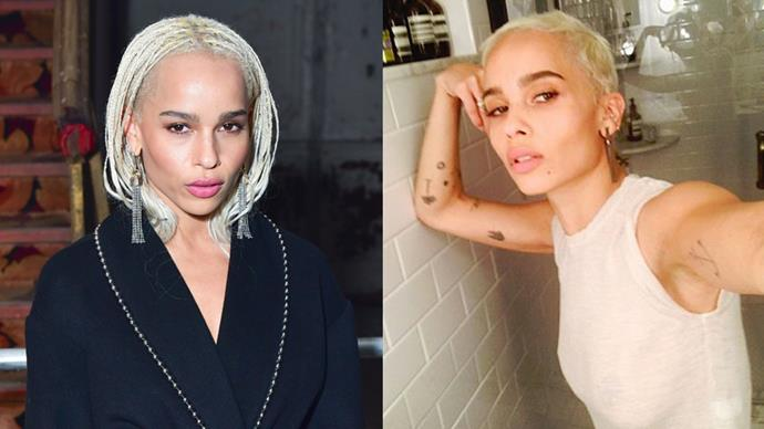 **Zoë Kravitz** <br><br> Zoë said bye-bye to her braids this weekend, opting for a pixie/buzz-cut hybrid. She kept the peroxide blonde, of course.