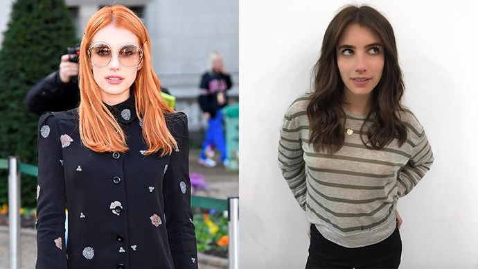**Emma Roberts ** <br><br> Emma has gone back to brunette after months of a bright orange hue. The actress showed off the new look, which is for her next role, on Instagram overnight.
