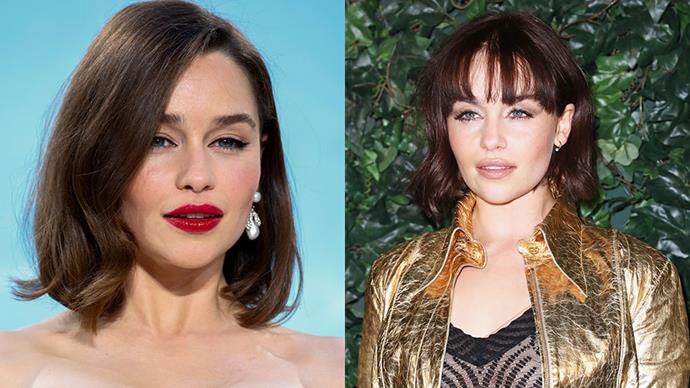 **Emilia Clarke** <br><br> **Daenerys Targaryen**–is that you? Recently, *Game of Thrones* actress Emilia Clarke added a block fringe to her mid-length lob.