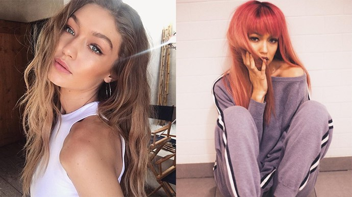 **Gigi Hadid** <br><br> Gigi looks totally different with this new pink hair and bangs. However, we won't be surprised if this is just another Hadid wig trick and Gi is back to blonde tomorrow.