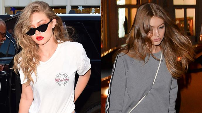 **Gigi Hadid** <br><br> To all those non-believers who allege that Gigi Hadid isn't a true supermodel, we have three words for you: blonde, brunette, blorange. These are all the hair colours that she has pulled off in 2017.
