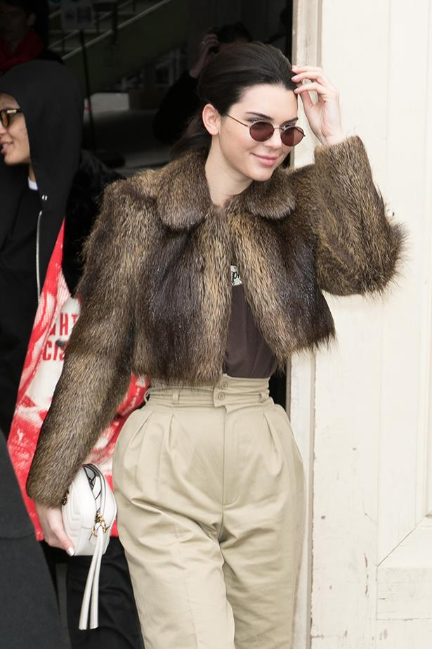 Kendall Jenner opted for a more sophisticated coffee colour palette to match her shades with.
