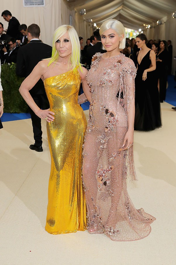 Kylie Jenner and Donatella Versace in Versace.