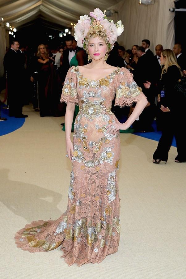 Haley Bennett in Dolce & Gabbana Alta Moda.