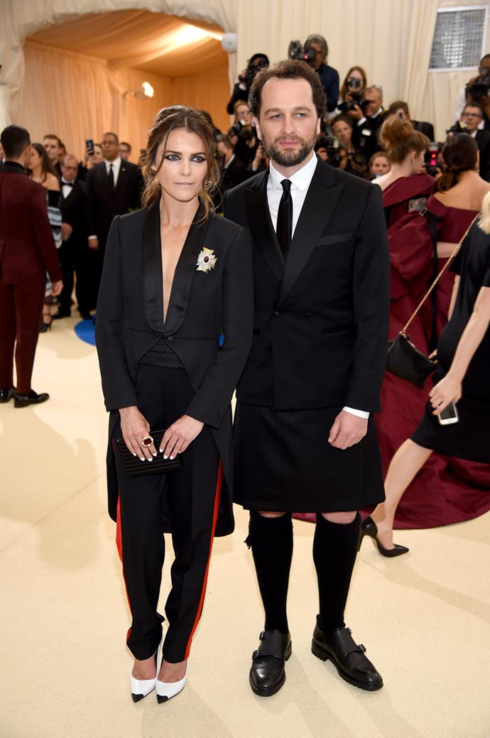 Keri Russell wore pants, while Matthew Rhys wore a skirt.