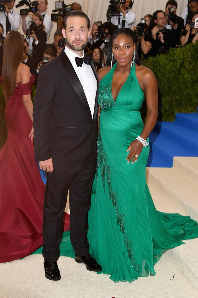 Pregnant Serena Williams attended with her fiancé, Reddit co-founder Alexis Ohanian.