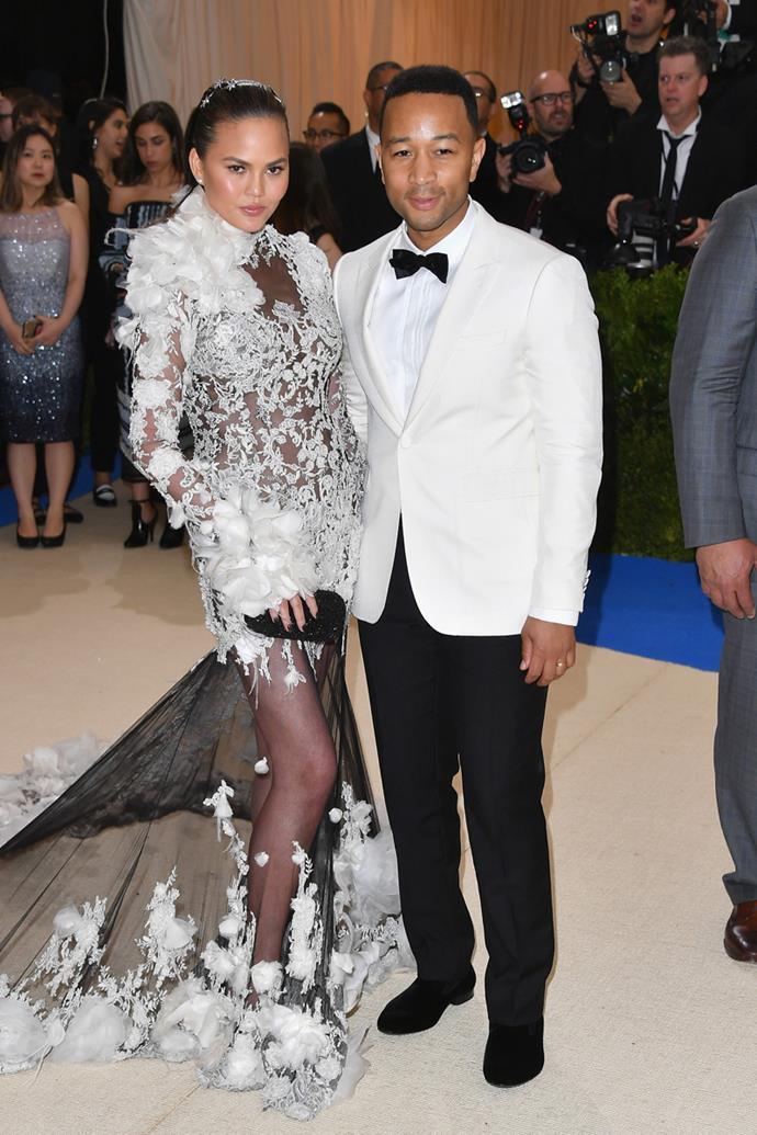 Chrissy Teigen and John Legend were matching.