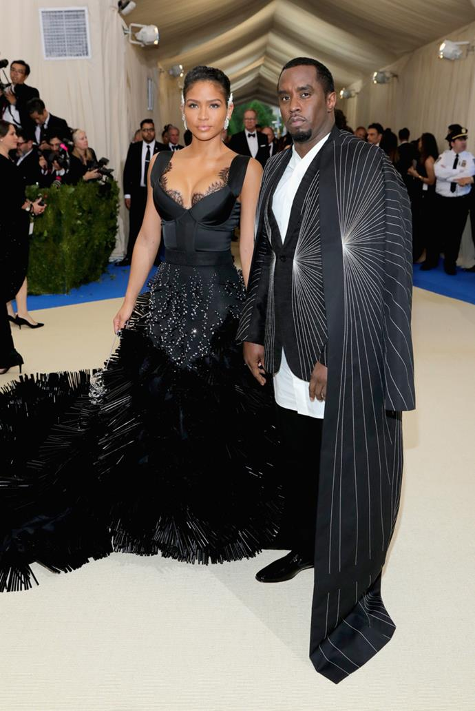 Cassie and Diddy wore dramatic black ensembles to the Met Gala.