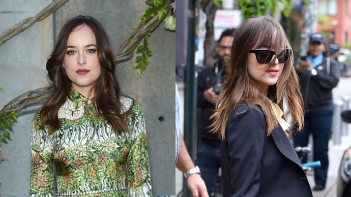 **Dakota Johnson** <br><br> After rocking long layers at the [Gucci garden party](http://www.elle.com.au/fashion/gucci-bloom-garden-party-12945) earlier, Dakota Johnson stepped out today sporting some chic newly-cut bangs.