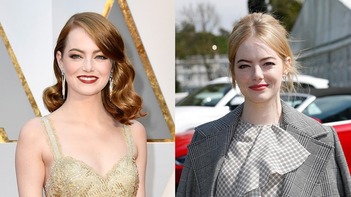 **Emma Stone** <br><br> Damn, we were so caught up with Meghan Markle and Prince Harry attending the polo together, we almost missed Emma Stone's hair change! The Oscar-winning actress went to the event to cheer on the players sporting some new strawberry blonde locks—a far cry from her deep red at the Oscars. Chic.