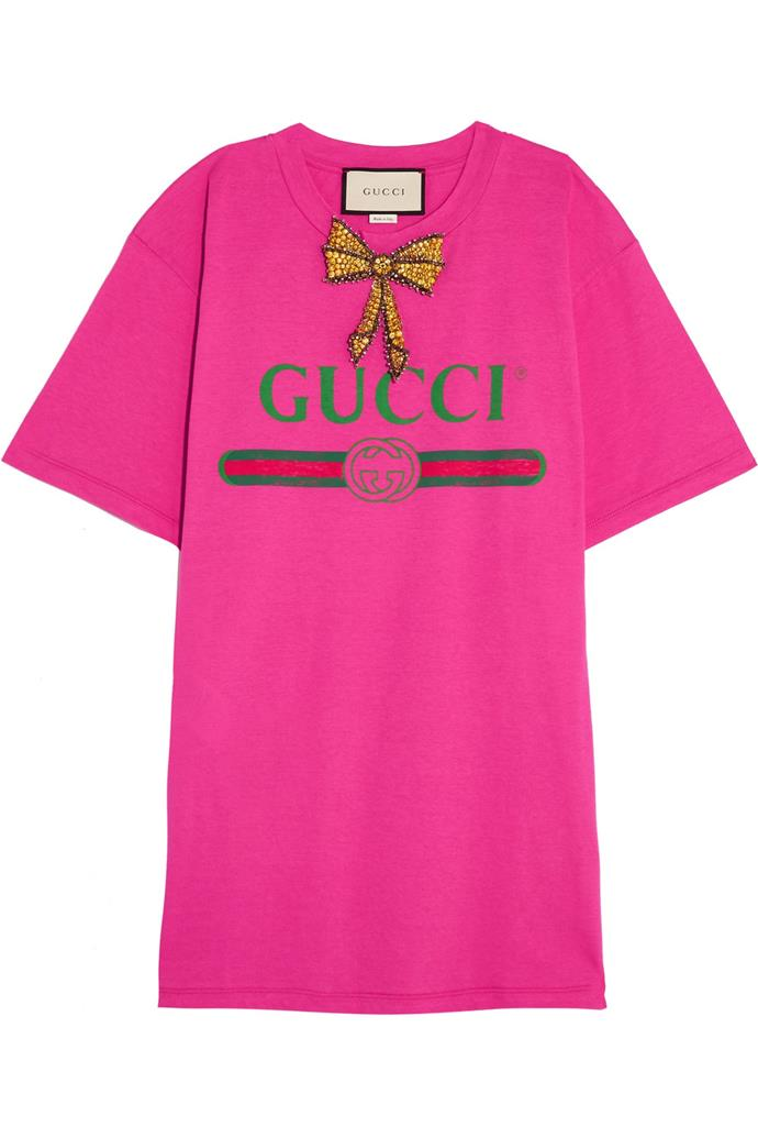 """*6. Logo tees*  Buy: Shirt by Gucci, $1,170 at [Net-a-Porter](https://www.net-a-porter.com/au/en/product/860140/Gucci/embellished-printed-cotton-jersey-t-shirt