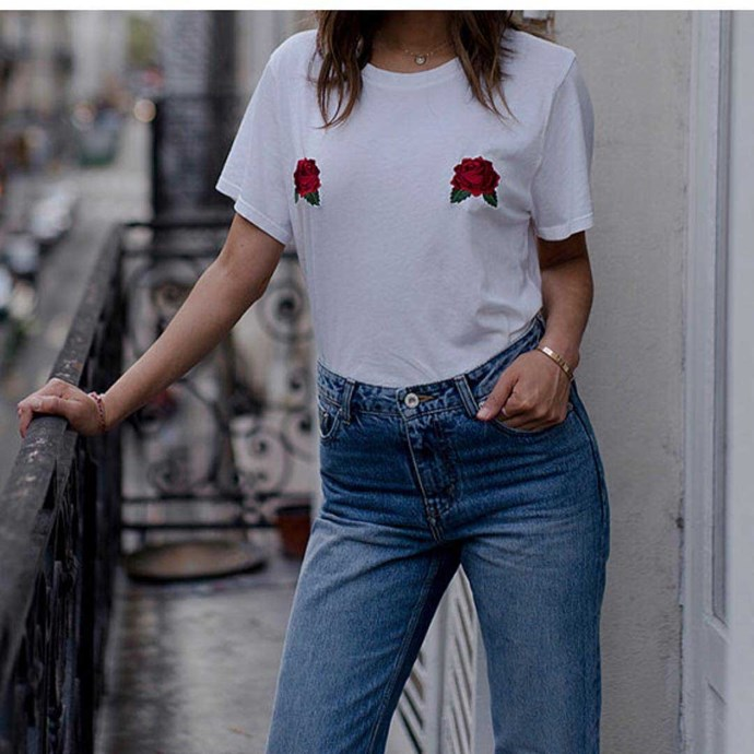 """Tee, $23.70 at [Uh La La Land](https://www.uhlalandstore.com/listing/506619659/rose-tits-tee-embroidered-roses-tee