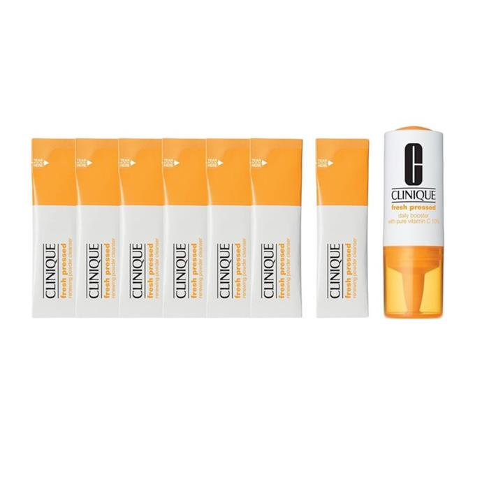 """Fresh Pressed 7-Day System with Pure Vitamin C by Clinique, $45, at [Sephora](https://fave.co/38yv5WF