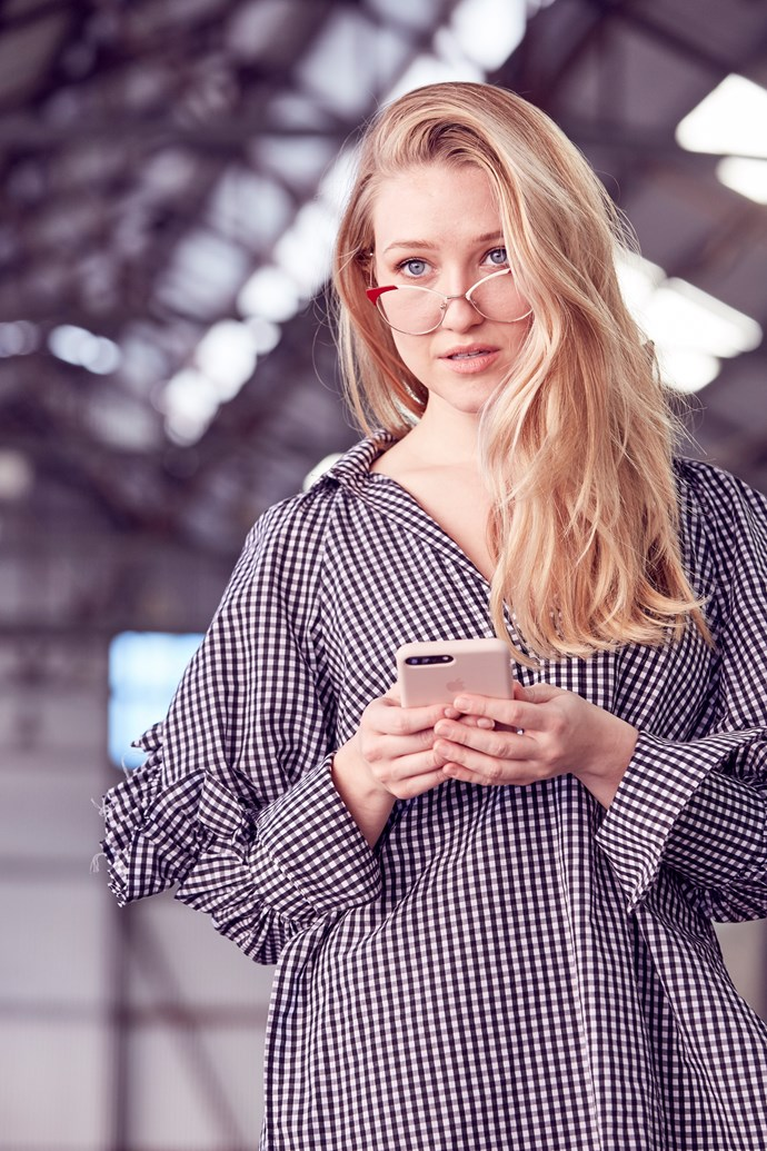 "ELLE Beauty & Fitness Director, Sara McLean wears top by Ellery and glasses by [Miu Miu](http://www.opsm.com.au/). ""Individually this gingham top and red specs appear pretty out there, but when paired together they're surprisingly wearable."""
