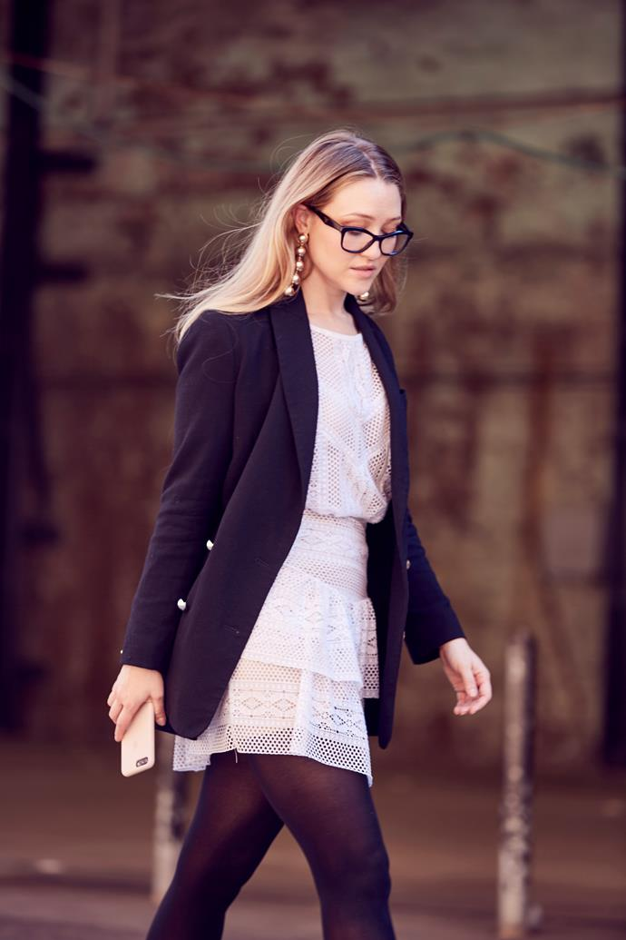 "*ELLE* Beauty & Fitness Director, Sara McLean wears dress by Magali Pascal, blazer by Zimmermann and glasses by [Prada](http://www.opsm.com.au/). ""There's nothing like a black blazer (and frames to match) to make me feel instantly polished and put together."""