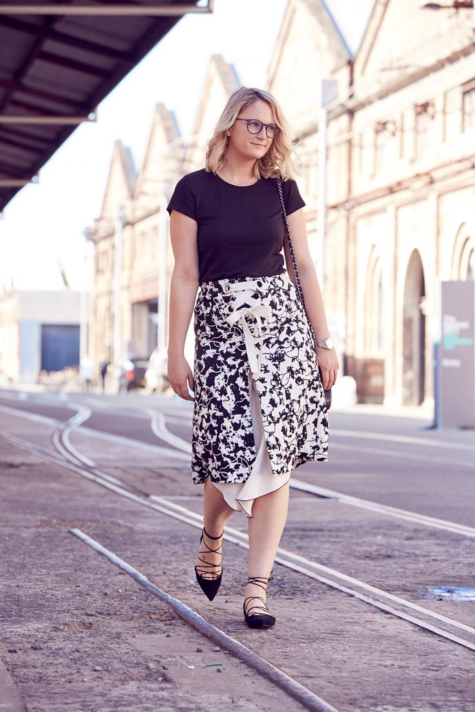 "*ELLE* Managing Editor, Brooke Bickmore wears Proenza Schouler skirt, Uniqlo top, Saint Laurent flats, Chanel handbag and [Giorgio Armani](http://www.opsm.com.au/) glasses. ""All laced up! These glasses are the accessory equivalent to my plain black tee. They go with just about everything."""
