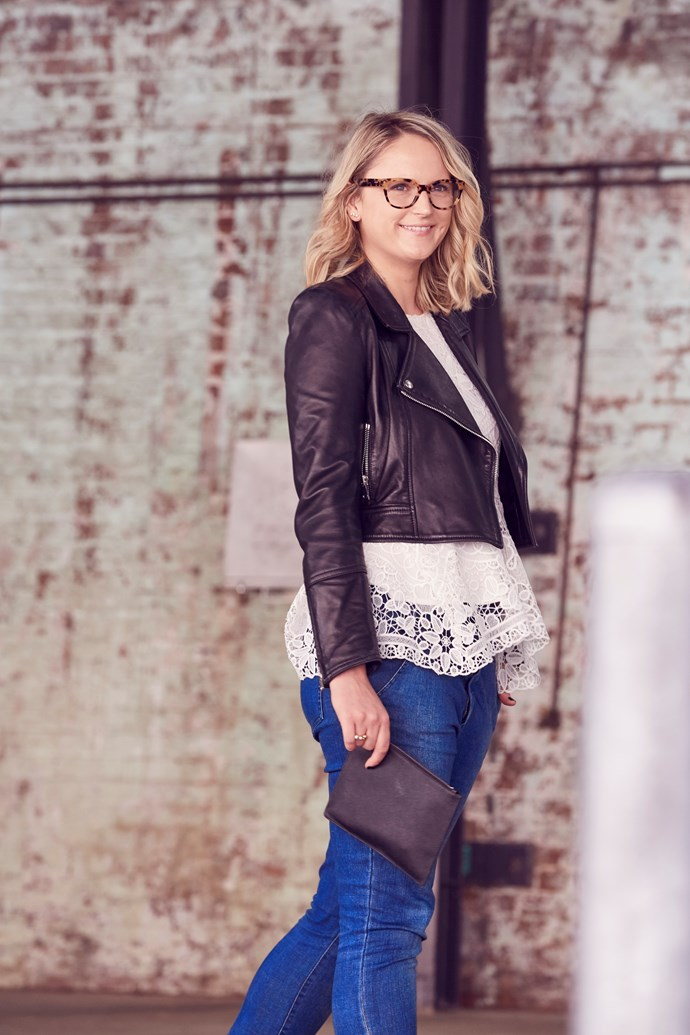 "ELLE Managing Editor, Brooke Bickmore wears Scanlan Theodore leather jacket and jeans, Thurley top, TDE clutch and [Prada](http://www.opsm.com.au/) glasses. ""Leather, lace and denim — along with black and white — are my go-to combinations which is why it's nice to combine a tortoise frame to contrast my otherwise consistent (read: safe) wardrobe."""