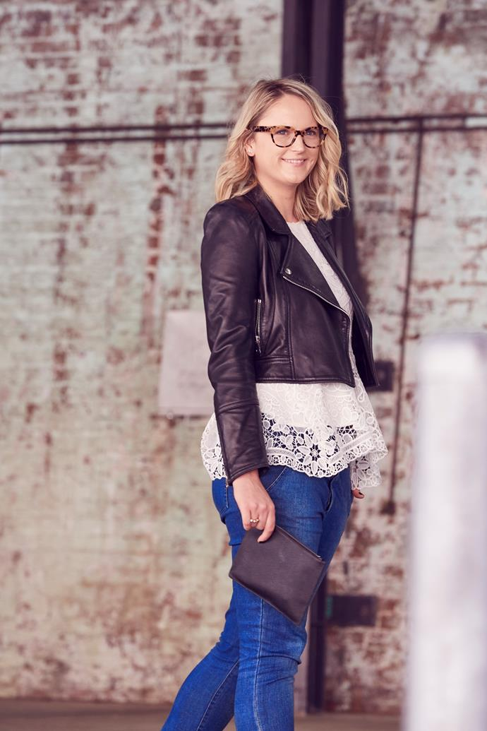 "*ELLE* Managing Editor, Brooke Bickmore wears Scanlan Theodore leather jacket and jeans, Thurley top, TDE clutch and [Prada](http://www.opsm.com.au/) glasses. ""Leather, lace and denim — along with black and white — are my go-to combinations which is why it's nice to combine a tortoise frame to contrast my otherwise consistent (read: safe) wardrobe."""