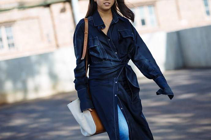 Fashion Office Coordinator, Samantha Wong wears dress by Eugenie, Neuw jeans, Senso shoes and Xnihilo handbag.
