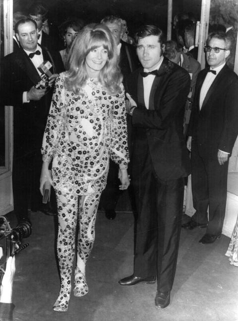 **VANESSA REDGRAVE, 1967**  Are those boots? Or pants with footsies? All we know is Vanessa Redgrave is wearing head-to-toe spangles and she looks phenomenal.