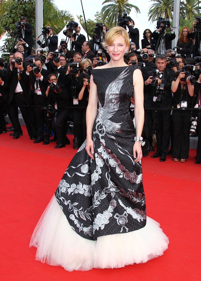 """**CATE BLANCHETT, 2010**  Blanchett wore this gorgeous Alexander McQueen gown as a tribute to the late designer, who died in February of that year. """"The dress had been selected and personally chosen by Mr. McQueen and his team for Ms. Blanchett,"""" a spokeswoman told *People* at the time. """"It was specifically tailored for Ms. Blanchett."""""""