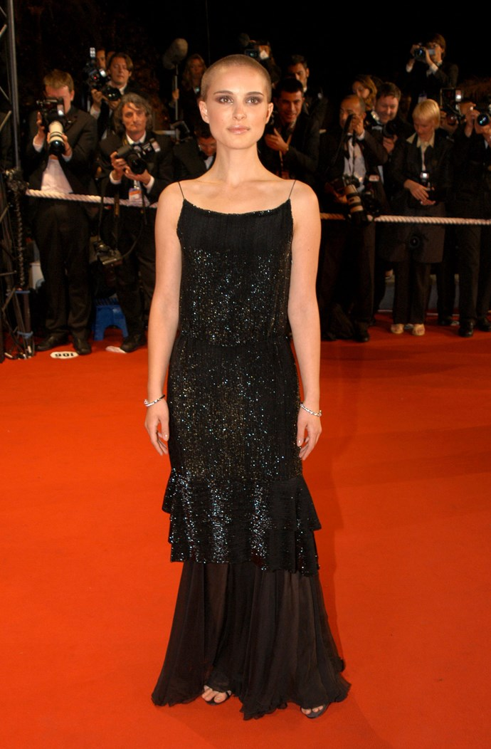 **NATALIE PORTMAN, 2005**  Portman debuted a newly shorn head (for her role in V for Vendetta) on the Cannes red carpet.