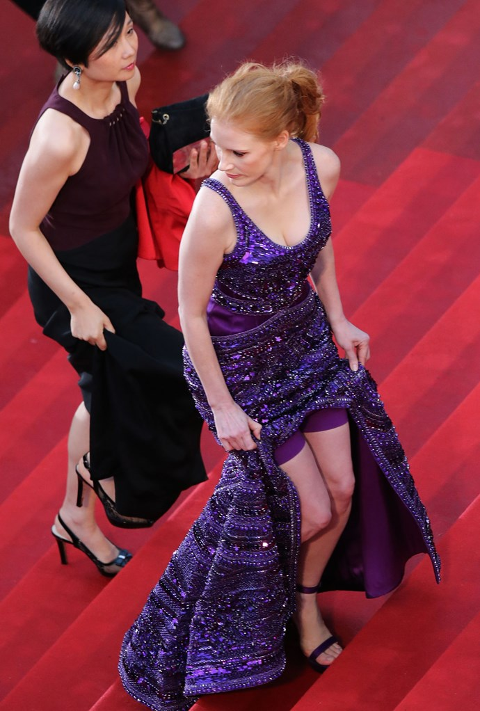 **JESSICA CHASTAIN, 2013**  Jessica Chastain, hero woman, rocked her Givenchy with matching purple Spanx in a genius, truly inspired move. Those stairs are a wardrobe malfunction in the making, people.