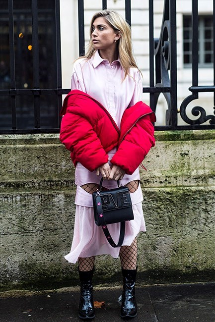 """*5. Puffa coats and girly dresses*  Last season the MVP among the street style set was undoubtedly the puffa jacket. Avoid """"hiking to Everest base camp"""" vibes by pairing it with a pretty feminine dress."""