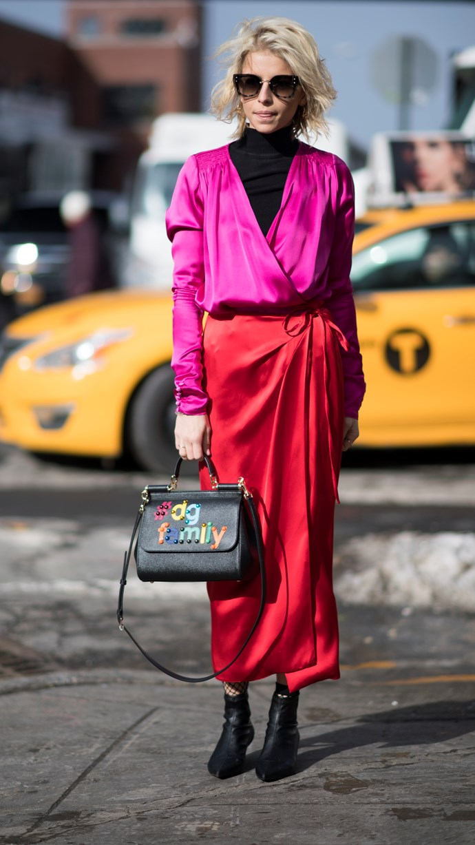*3. Red and pink*  Colour blocking is back, baby. Go all-out by clashing bright shades of pink and red together. It works, see?