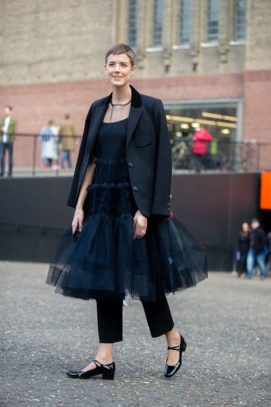 **AGYNESS DEYN**  Model Agyness Deyn's voluminous Molly Goddard dress is the perfect playful partner to sober black tailoring.
