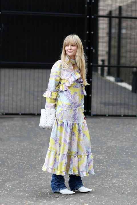**JEANETTE MADSEN**  The feminine frills and pastel colours of Jeanette Madsen's Saks Potts dress make a memorable counterbalance to her statement ruched denim.