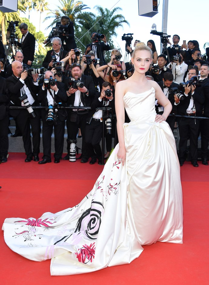 Elle went all-out on the first day of Cannes Film Festival wearing a custom Vivenne Westwood ballgown.