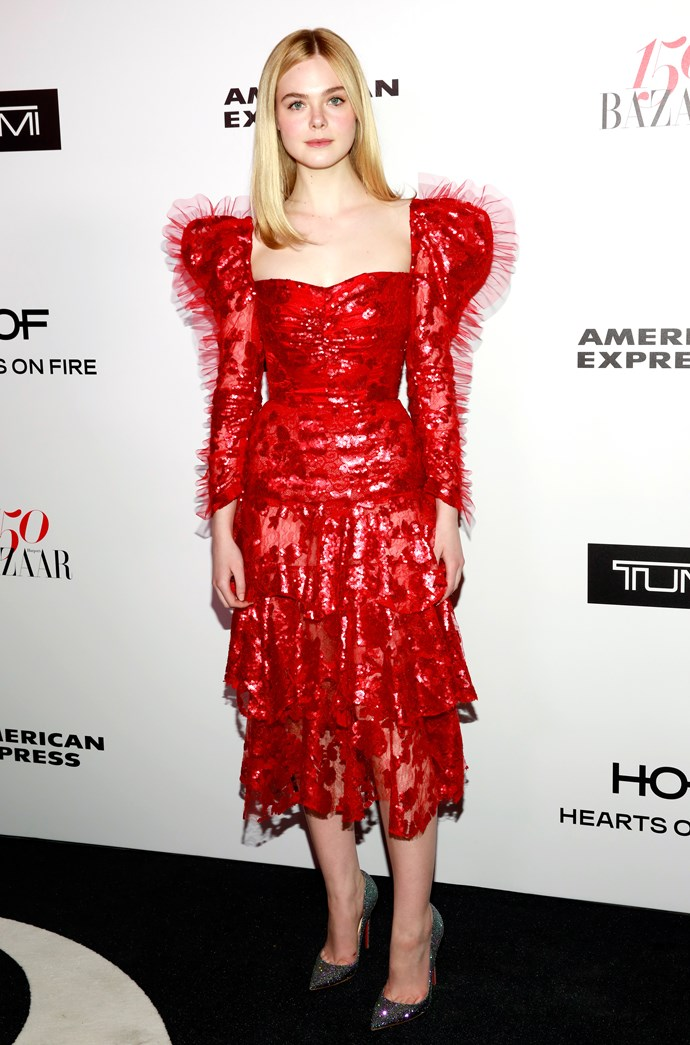 Here she is bringing back '80s glam at Harper's BAZAAR's 150 Most Fashionable Women Awards.