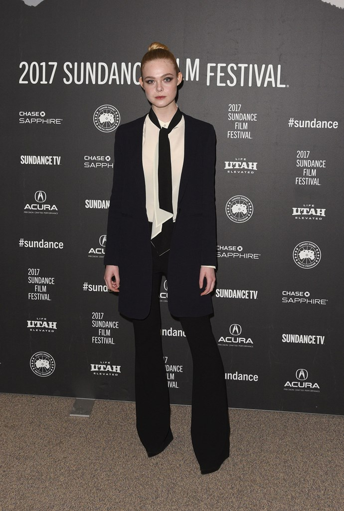 Sporting a fierce powersuit at the 2017 Sundance Festival.