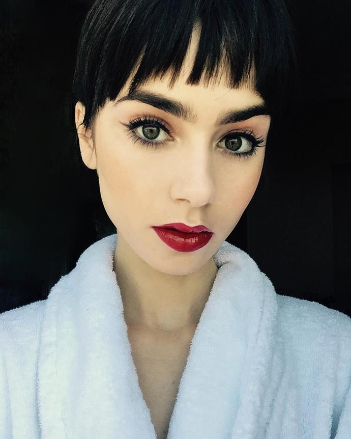 A wispy Audrey-esque fringe at a photo call.