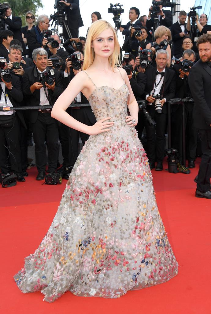 Elle steps out wearing Dior Couture at the Cannes Film Festival.
