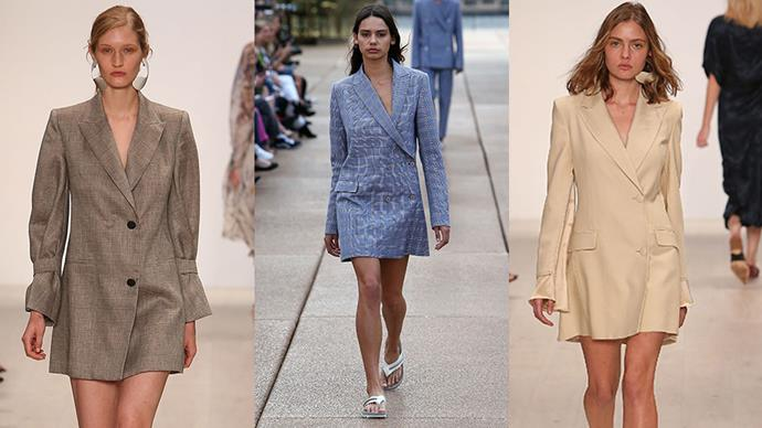 "**Chelsea Perzov, Buyer, Contemporary RTW & Swim at [Moda Operandi](https://www.modaoperandi.com/)**   *The trend:* Tailored menswear.   *As seen at*: Bianca Spender (left and right) and Dion Lee (centre).   *The verdict:* ""I love the idea that we can transform traditional men's pieces into womenswear through subtle and feminine detailing. It's relevant now, more than ever, given today's focus on women's empowerment and equality.""   *Try the trend by investing in:* ""A blazer dress."""