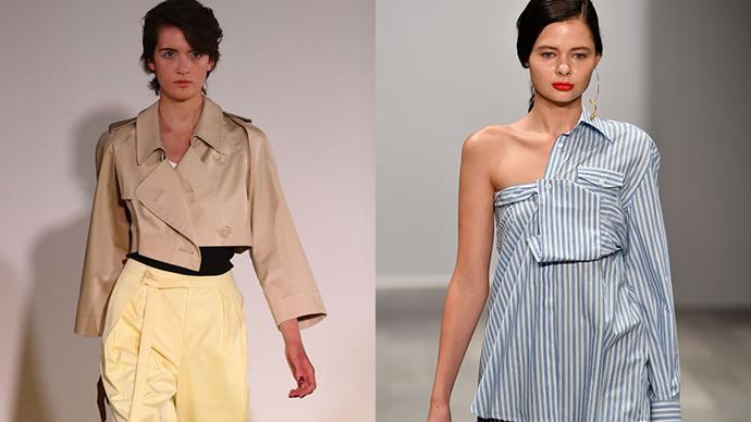 "**Emma Pull, Womenswear Buyer at [Farfetch](https://www.farfetch.com/au/shopping/women/items.aspx)**   *The trend:* Deconstruction.    *As seen at*: Trench coats at Christopher Esber (left), shirts at Anna Quan (right) and dresses at Michael Lo Sordo.    *The verdict:* ""Because people are so busy now, versatile pieces are more important than ever. Iconic brands like Maison Margiela have been reworking pieces from their archives over the last year or so, and I'm glad that it's caught on - it's such a fresh look. ""   *Try the trend by investing in:*  ""It's a toss-up between the one shoulder stripe shirt from Anna Quan- it's a great update on all of the off shoulder shirts we saw in recent seasons, and the cut out trench from Christopher Esber."""