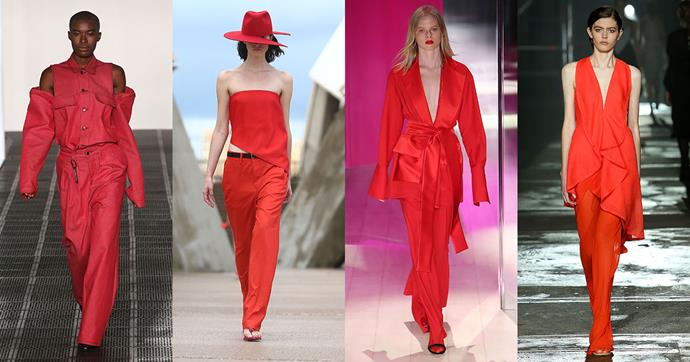 "**Chelsea Power, Studio Buyer at [MATCHESFASHION.COM](http://www.matchesfashion.com/womens)**   *The trend:* Red.   *As seen at*: Strateas.Carlucci, Dion Lee, Michael Lo Sordo and KitX (all pictured).   *The verdict:* ""I think the prominence of red on the runway recently has originated from the need for colour – people want to experiment with options other than black. Red is an exciting and bold choice and people are more willing to try something fresh and new. Red looks great if worn in the day paired back with khaki and camel for a relaxed take; otherwise with khaki trousers or light washed denim. At night an evening dress is great worn with a strong lipstick and heels.""   *Try the trend by investing in:* ""An evening dress."""
