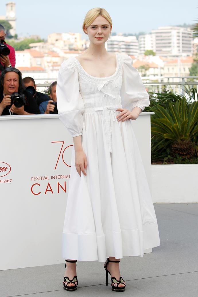 In Alexander McQueen at a photo call for *The Beguiled*.