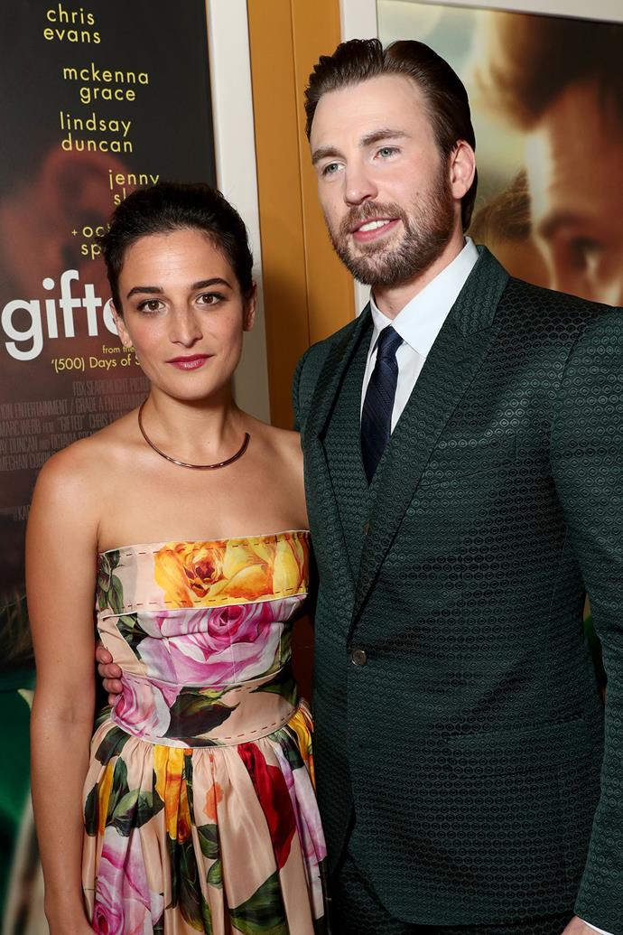 **Jenny Slate and Chris Evans**  Chris and Jenny, who worked with each other in the film *Gifted*, dated for a year before breaking up in February. Since their split, they've said [very sweet things](http://www.elle.com.au/celebrity/jenny-slate-chris-evans-break-up-reason-5623) about each other.