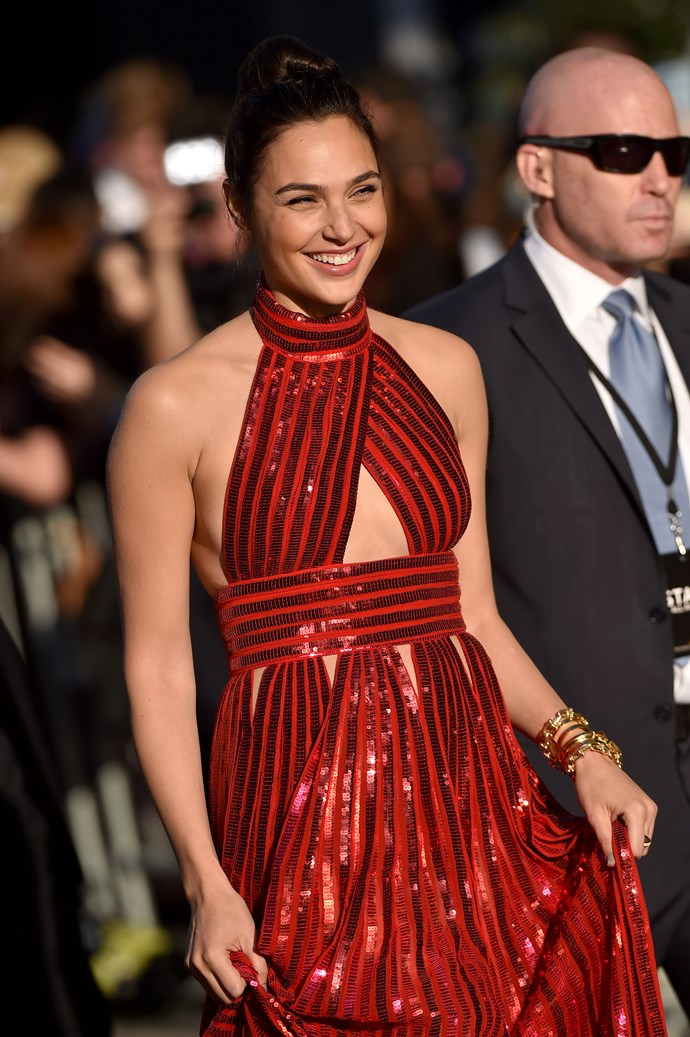 Gal Gadot at the Los Angeles *Wonder Woman* in Givenchy.